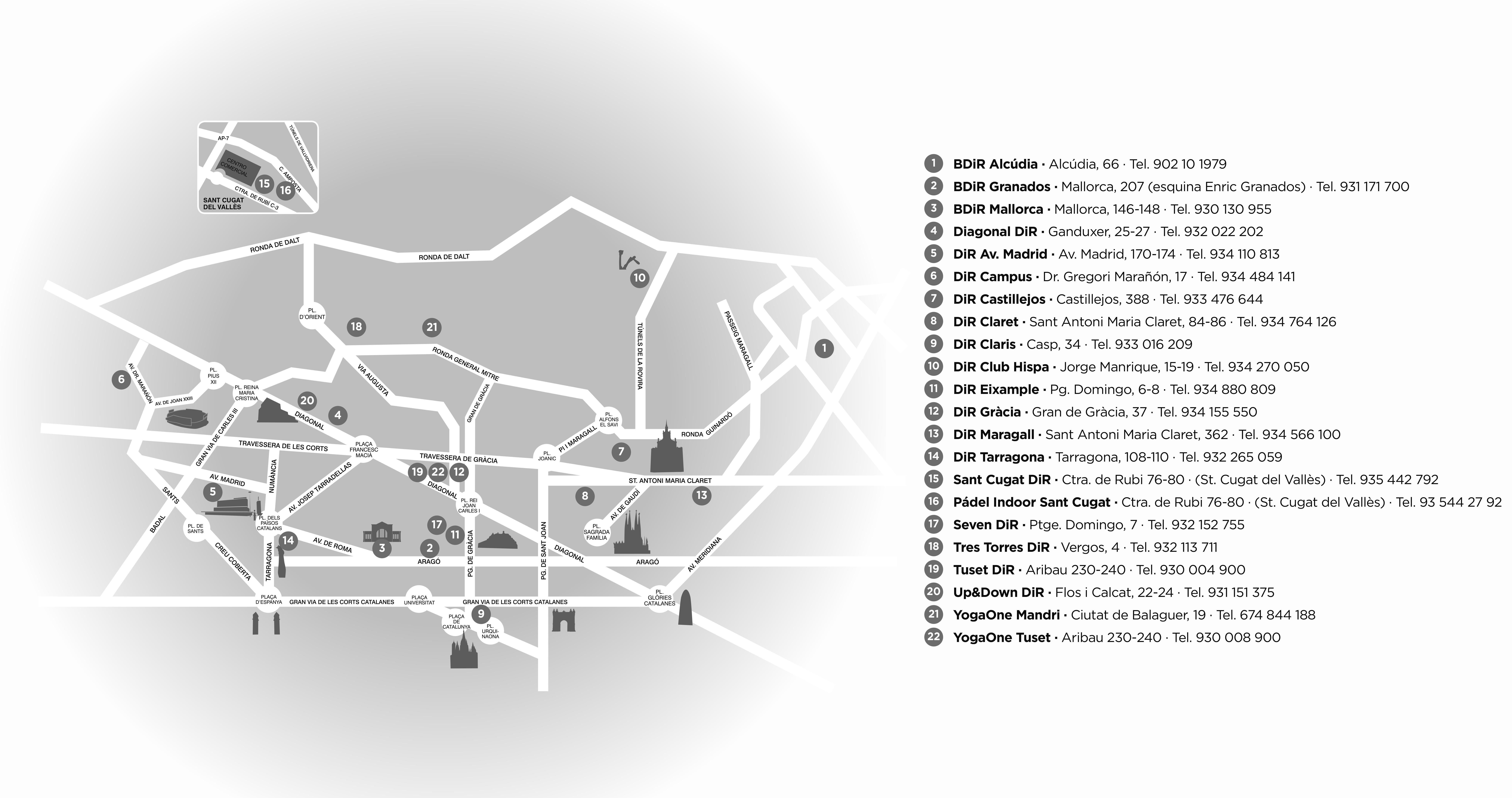 Mapa DIR con direcciones